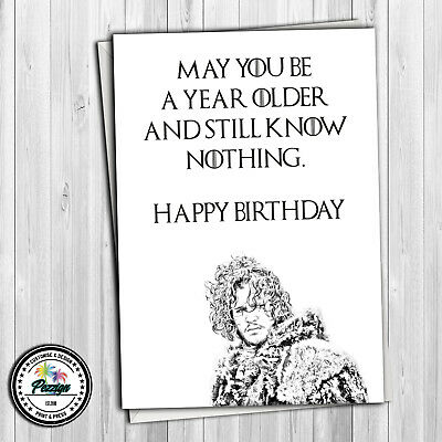 Personalised GAME OF THRONES birthday greeting card funny Jon Snow