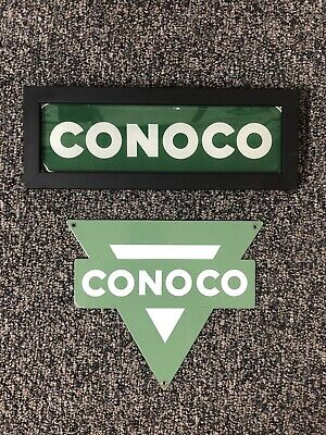 Vinatage Conoco Porcelain Gas Pump Plate with Framed Ad Glass Original