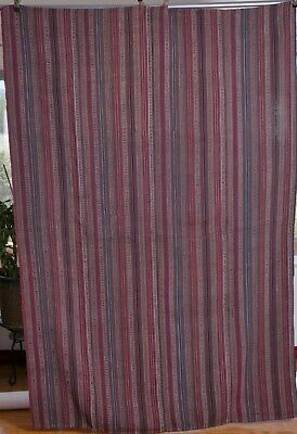 Antique Striped cloth heavy fabric 4 sewn panels ethnic hand woven unique