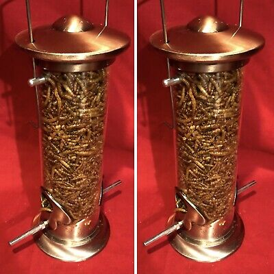 2 x Seed Feeder Heavy Duty Die Cast COPPER Metal SQUIRREL PROOF FREE Mealworms