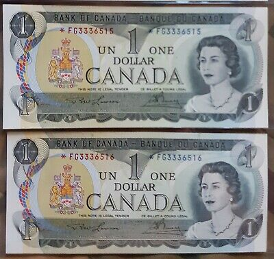 1973 Bank of Canada $1 *FG  2 X Sequential Ch Unc
