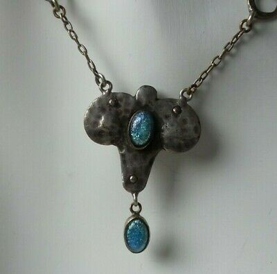 Antique European French 1920S Art Deco Sterling Silver & Art Glass Necklace