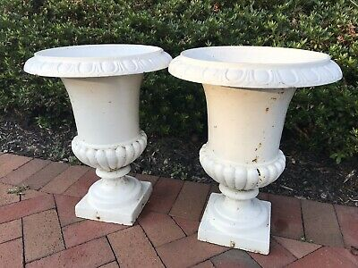 """Pair of 18""""Tall  Vintage French Antique Cast Iron Planter  Flower Pot Jardiniere"""
