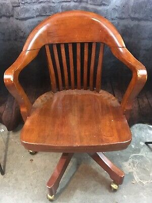 1997 Bombay Wooden Swivel Bankers Chair