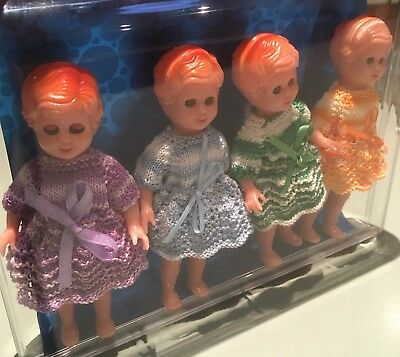 """Delightful 4 Pack of Hard Plastic Dolls 4.5"""" with Beautiful Hand Knitted Clothes"""