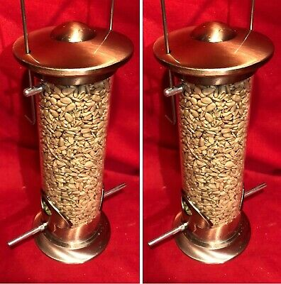 2 x Seed Feeder Heavy Duty Die Cast COPPER Metal SQUIRREL PROOF FREE Sunflower