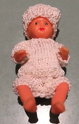 """Made In West Germany Hard Plastic Doll 3"""" Moulded Hair Hand Knitted Clothes"""