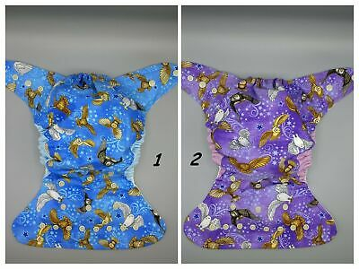 Cloth diaper SassyCloth one size pocket cloth diaper with wizard owls prints.