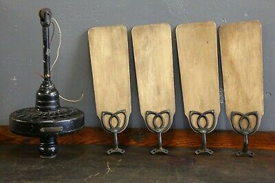 Antique 1920s General Electric Ceiling Fan GE Mahogany wood Blades Vintage old