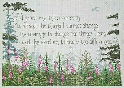 Finished Serenity Prayer Cross Stitch God Grant Me Completed 11x15 Trees Flowers