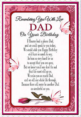 Dad Graveside Memorial In Memory Birthday  Rememberance Keepsake Card & Holder