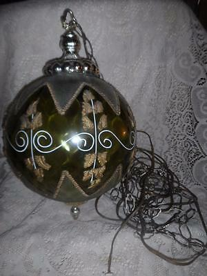 Vintage Green Optic Bubble Glass w/Ornate Brass Overlay Hanging Chain Globe Lamp