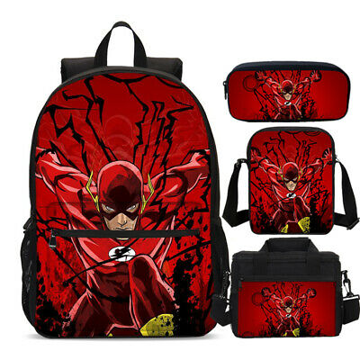 S//4 The Flash Kids School Bag Boys Backpack Insulated Lunch Bags Pencil Case LOT