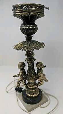 "Antique Heavy Cast Brass Figural Angel Baby Banquet Lamp 17"" Very Ornate"