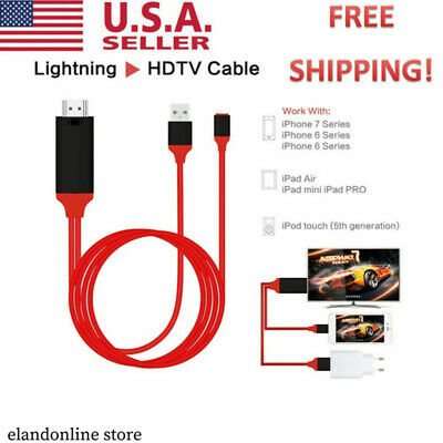 1080P 2M 8 Pin Lightning To HDMI TV AV Adapter Cable For IPhone 5/6/6S/7/8Plus/X