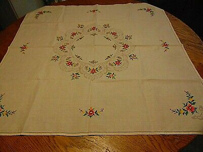 Vintage Hand Embroider Drawn Threadwork Tablecloth Excellent Condition!