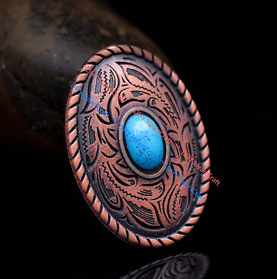 10X Antique Copper Flower Engraved Oval Leathercraft Saddles Concho Blue Bead