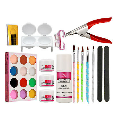 Nail Art Set Acrylic Powder Liquid Form Brush Pen Cutter Sanding File Tools Kit