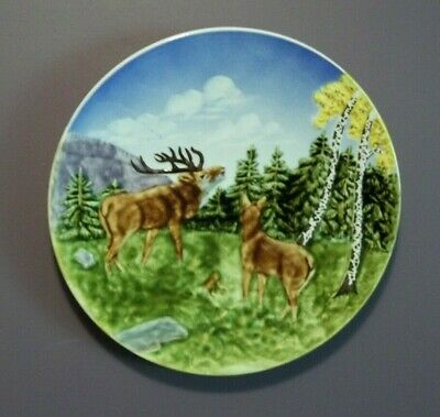 Antique Majolica Wall Plate Stag  Marie Louise Germany