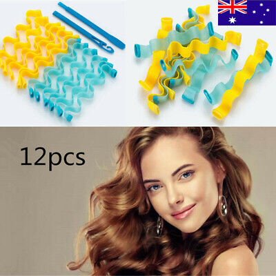 12pcs Water Wave Magic Curlers Curl Formers Leverage Spiral Hairdressing Tool AU