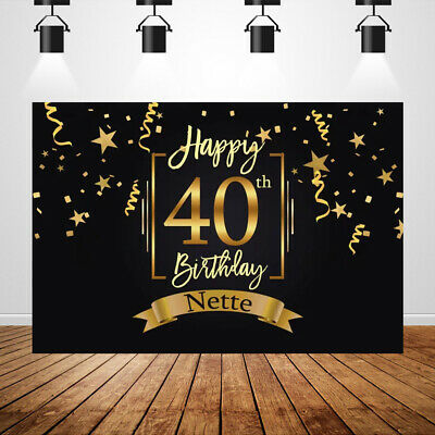 Custom 40th Birthday Backdrop Black and Gold 50th Party Background Photobooth