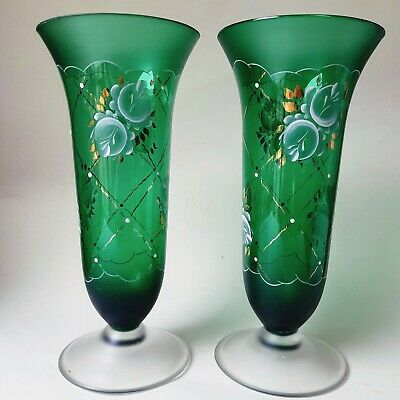 Vintage Bohemian Czech Green Glass Footed Vases Hand Painted Gold Trim Lot 2