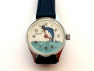 Vintage Favorit Hand-Wind Up Children Watch with Dolphin and Animated Ball