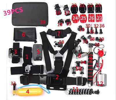 39PCS Accessories kit Head Chest Mount Floating Monopod For GoPro Hero4/3+