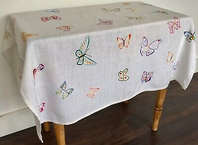 Vintage Hand Embroidered Linen Table Cloth All Over Pretty Butterflies