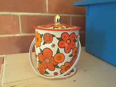 RETRO  METAL  Canister Can Tin Retro Kitchen FUNKY FLOWERS HANDLE  ENGLAND