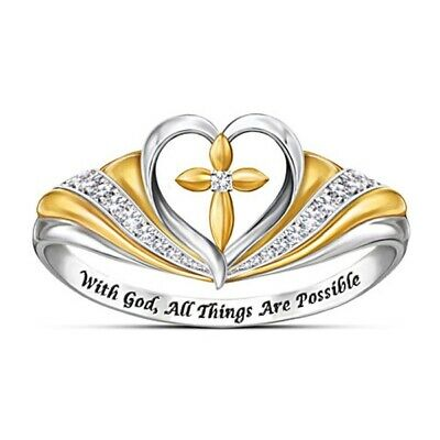 Fashion Two Tone 925 Silver Gold Filled White Topaz Heart God Jesus Cross Ring