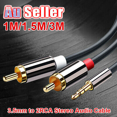 Premium Cable Jack Gold Aux au Stereo Audio 3.5mm 2 RCA 1m~5m to Plated M/M Y