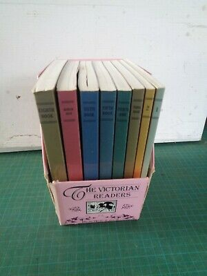 Vintage set of  8 Victorian Readers in case, reproduced 1986, books covered