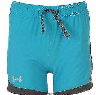 Under Armour Junior Girls Unstoppable Shorts Bottoms Teal Blue Age 9-10 Years *2
