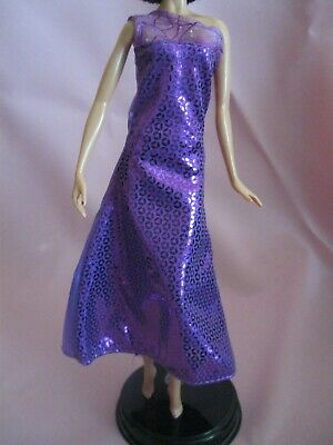 Barbie Clothes Dress Gown - Patterned Purple (Doll Not Included)