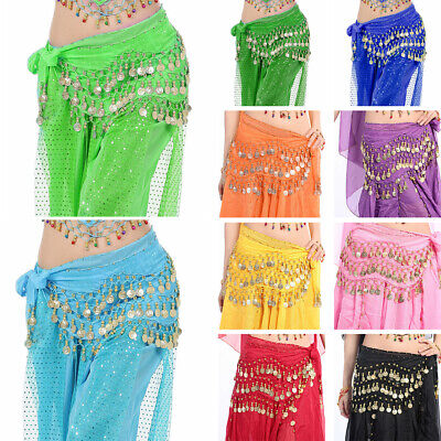 3rows Belly Dance Wrap Belt Dancer Skirt Costume Coins All Colours Hip Scarf Bly