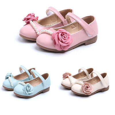 Baby Kids Toddler Infant Girls Flat Wedding Party Princess Shoes Flower Pearls
