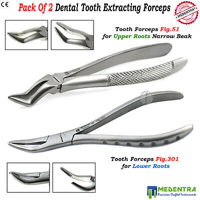 DENTAL EXTRACTING FORCEPS Fig 301 Fig 51 FOR LOWER AND UPPER ROOTS SERRATED BEAK