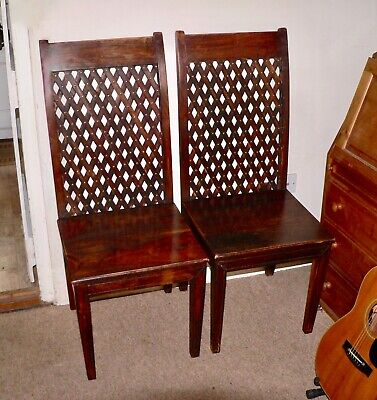 Pair of trestle back brass studded chairs very unusual,Oak and Elm x