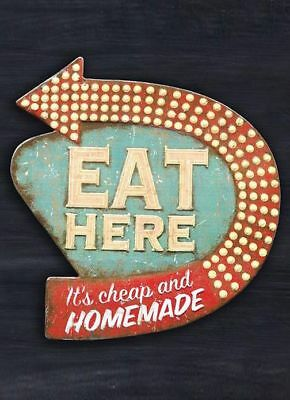 """TIN SIGN """"Eat Here"""" Cafe Kitchen Rustic Mancave Wall Decor Eatery Vintage Gift"""