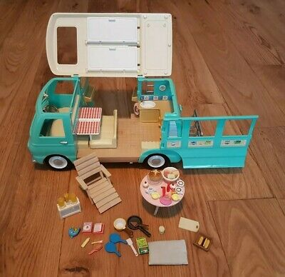 Sylvanian Families Critters Campervan With Bike Rack / Ladders / Accessories VGC
