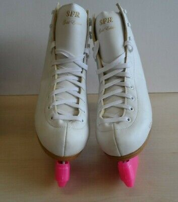 SFR Ice Star Ice Skates White Gold Edition  UK Size 7 with Skate Guards 32C