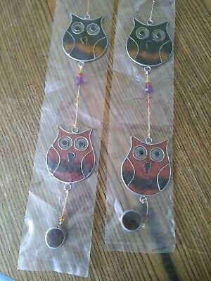 2 Stained Glass String of Owls Sun Catcher Hanging Window Decoration
