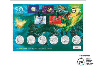 2019 PETER PAN IOM 50P STAMP & COIN COVER, SET OF 5 x 50p COINS IN HAND BUNC