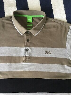 Mens Hugo Boss Green Label 'Paddy1' Striped Polo Shirt In Large