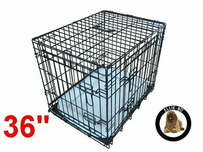 """Ellie-Bo 36"""" Large Deluxe Dog Puppy Pet Cage Carrier Crate In Black"""