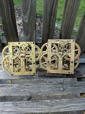 TWO Antique  Ogee Clock Movement parts