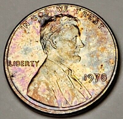 1978 Lincoln Memorial Bu Unc Cent Penny Nicely Color Toned Coin Both Sides