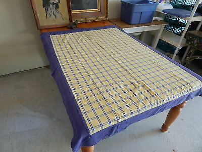 Vtg Cotton Blue Yellow Table Cloth 62 X 46 -Nice Vtg Look Good Condition