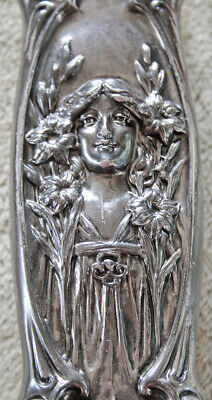 Beautiful Antique Vintage Art Nouveau Lady & Flowers Clothing Brush Silver Plate